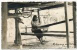 Real Photo Tissage Au Laos Voyagé Timbrée Vientiane 1957 - Laos