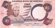 BILLETE DE NIGERIA DE 5 NAIRA  (BANKNOTE)  SIN CIRCULAR - Nigeria