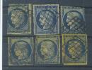 VEND N° 4 X 6 TEINTES DIFFERENTES - 1849-1850 Cérès