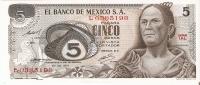 BILLETE DE MEXICO DE 5 PESOS  AÑO 1971  (BANKNOTE) - México