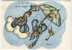 CARTOLINA FORMATO GRANDE PARACADUTISMO HUMOR AVIAZIONE ILLUSTRATORE BABINI ANNO 1942 CARICATURALI UMORISTICHE - Paracadutismo
