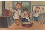 """CHATS - Jolie Carte Fantaisie Chats Humanisés - Cuisine -  """"On S´en Lèche Les Babines"""" - Katten"""