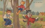 "CHATS - Jolie Carte Fantaisie Chats Humanisés - Balançoire - ""Ca Va Mal Finir"" - Katten"