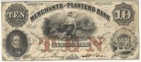10 DOLLARS . MERCHANTS PLANTERS BANK . 1856 - Georgia