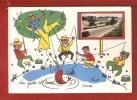 CPSM 10X15 . La Pêche Est Bonne à USSEL  (19 )  Illust .Scène De Pêche + Mini Vue Route & Village - Ussel