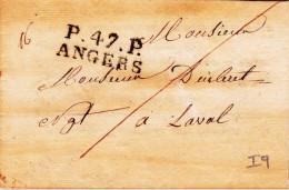 1829 - MAINE ET LOIRE - LETTRE De ANGERS Avec PORT PAYE En NOIR Pour LAVAL - Marcophilie (Lettres)