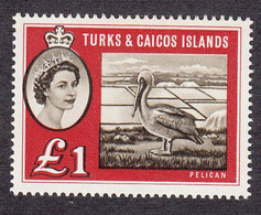 Turks & Caicos  1960 Q. Elizabeth II    £1     SG253    MH - Turks & Caicos