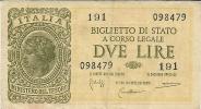 2  LIRE ITALIA LAUREATA  -  BIGLIETTO DI STATO - SERIE 191 - 098479 - FIRME:  BOLAFFI - CAVALLARO - GIOVINGO - - Italia – 2 Lire