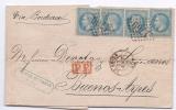 N° 29 X 4 Ex Sur Pli Du Havre Pour Buenos Ayres1868 - Marcophilie (Lettres)