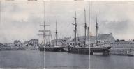 TRIPLE CPA 1908 COURSEULLES-SUR-MER - Le Quai Est (voilier) - France