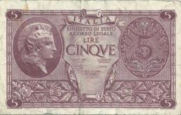 5  Lire - ATENA ELMATA - Luogotenenza Biglietti Di Stato - D.M. 23.11.1944 - Firme: Bolaffi / Cavallaro / Giovinco. - [ 1] …-1946 : Kingdom