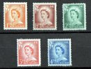 New Zealand 1956 Queen Elizabeth, Lower 5 Values Mint No Gum - Used Stamps