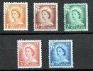 New Zealand 1956 Queen Elizabeth, Lower 5 Values Mint No Gum - New Zealand
