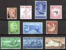 New Zealand 1958, 1959 Issues 10 Stamps Used - New Zealand