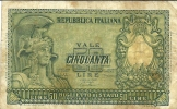 50 Lire - ITALIA ELMATA - D.M. 31.12.1951 - Firme: Bolaffi / Cavallaro / Giovinco - Serie 2717 - [ 2] 1946-… : République