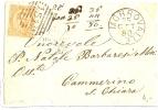REF LIT 10 / BO - UMBERTO I 20c SUR LETTRE MORROVALLE / CAMERINO 25/10/1880 - 1878-00 Umberto I