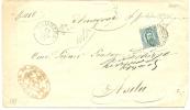 REF LIT 10 / BO - UMBERTO I 5c SUR LETTRE GAMBARA / ASOLA 28/11/1883 - 1878-00 Humbert I