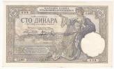 Yugoslavia 100 Dinara 1929. AUNC P-27   (008) WATERMARK: HEAD OF KING ALEKSANDRE I - Yougoslavie