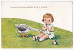 Carte Fantaisie Lillustrée(fillette Avec Son Biberon & Oie Mangeant  Fleurettes)Chacun Prend Son Plaisir Où Il Se Tr - Neonati
