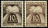 ANDORRE 1943 - Yv. Taxe 21 **/* 2ex Variété Nuances Extrêmes  Cote= 1,50 EUR - Type Gerbes. Chiffre-taxe ..Réf.AND12714 - Timbres-taxe