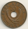 East Africa 10 Cents 1941 I -  KM#26.1 - British Colony
