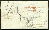: Pli De BARCELONE  De 1840 En Port Du Avec M. Postales BARCELONA CATALUNA +ESP. 1 PERPIGNAN 1 Pour PERPIGNAN - ...-1850 Vorphilatelie