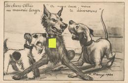 Satirique Les Chiens Alliés Fox Au Mauvais Berger Allemand Avec Croix Gammée Par Remy 1940 - Guerre 1939-45