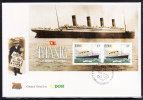 Ireland Scott #1172a FDC Maritime Heritage - Souvenir Sheet Of 2 1pd Titanic - Bateaux