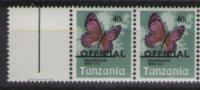 Butterflies Papillons Schmetterlinge Tanzania  **  Overprint  MiNr. B160 - Pair - Schmetterlinge