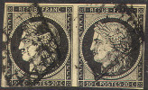 # France    3a, V. Pair, Used, Sound  (fr003-14   [16-ACE - 1849-1850 Ceres