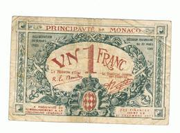 Rare: 1 FRANC  PRINCIPAUTÉ DE MONACO (1920) Série C Avec Décalage Numérotation - Mónaco