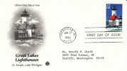 #2970 32-cent Great Lakes Lighthouse, St Joseph Lake Michigan, Cheboygan MI 17 June 1995,First Day Cancel Postmark - First Day Covers (FDCs)