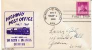 California Highway Post Office HPO,1st Trip, San Jacinto-Los Angles 1950, Trip 2, Cancel Postmark On Cover - Postal History