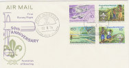 Papua New Guinea-1976 50th Anniversary Scouting And Flight FDC - Papua New Guinea