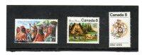 3 Timbres Du Canada Avec Indiens   (neufs Sans Charnière) - Indiani D'America