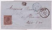 Lettre Affr. N°19 Lpts 264 NAMUR/1866 Pour Beaune. - 1865-1866 Profil Gauche