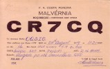 CARTE QSL CARD 1959 RADIOAMATEUR HAM RADIO CR-7 PORTUGAL COLONIE COLONY MOZAMBIQUE MALVERNIA STAMP BELGIAN CONGO BELGE - Mozambique