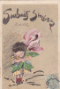 SOUHAITS SINCERES ENFANT TENANT UNE ROSE - 1900-1949