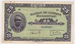 BANQUE DE L'AFRIQUE OCCIDENTALE FRANCAISE AOF - BILLETS De 25 FRANCS - 1942 - PLI + 2 INFIMES DEFAUTS EN BORDURE - Billets