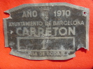Placa Matrícula Metálica Para Carretón Ayto. Barcelona 1970 Tasa De Rodaje. Ver Foto. - Placas De Matriculación