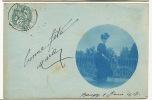 Baugy Carte Photo Tirage Amateur  Bleur 1907 Femme A Vélo Sur Un Pont - Baugy