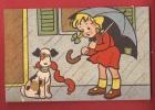 P0343 Humour, Jeune Chien Avec Jeune Fille,parapluie,saucisses.Circulé Sous Enveloppe. - Chiens