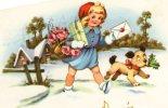 Illustrée : Petite Fille, Lettre, Fleurs, Cadeaux, Chien Dans La Neige . - Scènes & Paysages