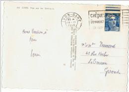 Tampon  Cheques Posteaux    Sur Beau Timbre  5 F  Bleu Avec Bande - Marcophilie (Lettres)