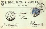 CARTOLINA  POSTALE PUBBLICITARIA-REGIA SCUOLA DI AGRICOLTURA IN TODI-PERUGIA-27-3-1921-SPEDITA A PANICALE-PERUGIA - Marcophilie
