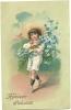 """Carte Gaufrrée - Enfant Portant Une Gerbe De Fleurs  """"souvenir Affectueux"""" - Autres"""