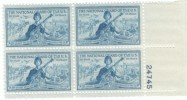 #1017 1953 Plate # Block Of 4, 3-cent Mint Stamps, National Guard Issue - Unused Stamps