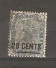 CEYLON - 1885 VICTORIA SURCHARGES ISSUE 28c On 32c BLUE-GREY FU  SG 190 - Ceylon (...-1947)
