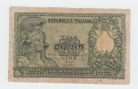 "ITALY 50 Lire 1951 ""F"" P 91b 91 B - 50 Lire"