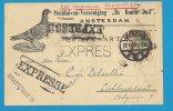 """Expres / Expresse / Nederlandse Spoedbestelling : Amsterdam--> Lichtervelde / Postduiven Vereniging """"De Bonte Duif"""" - Belgien"""